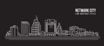 Línea de fachada del paisaje urbano diseño del ejemplo del vector del arte - ciudad de Netwark Imágenes de archivo libres de regalías