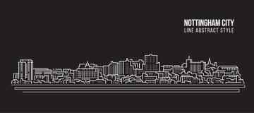 Línea de fachada del paisaje urbano diseño del ejemplo del vector del arte - ciudad de Nottingham Libre Illustration
