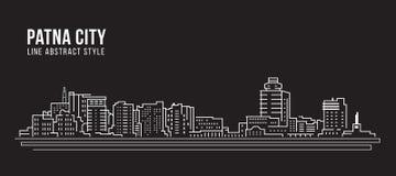 Línea de fachada del paisaje urbano diseño del ejemplo del vector del arte - ciudad de Patna ilustración del vector
