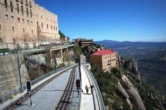 Línea de ferrocarril de la montaña de Montserrat, España Fotografía de archivo