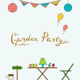 Línea de fiesta de jardín sistema del icono Imagenes de archivo