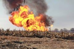 Línea de gas explosión Fotografía de archivo libre de regalías