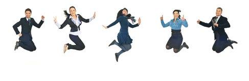 Línea de hombres de negocios del salto Imagen de archivo libre de regalías