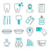 línea 16 de iconos dentales Aislado Bloque del color Fotografía de archivo libre de regalías