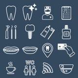 línea 16 de iconos dentales blanco Imagen de archivo libre de regalías