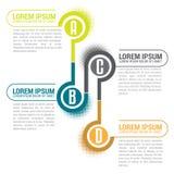 Línea de Infographic con las etiquetas y el lugar de ABCD para el texto Foto de archivo