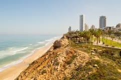 Línea de la costa de Netanya fotos de archivo
