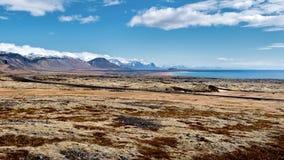 Línea de la costa en la península Islandia de Snaefell Fotos de archivo libres de regalías