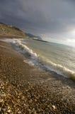 Línea de la costa y nube de tormenta Fotos de archivo libres de regalías