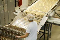 Línea de la fábrica de la producción de la galleta y de la galleta fabricación fotografía de archivo libre de regalías