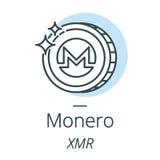 Línea de la moneda del cryptocurrency de Monero, icono de la moneda virtual Imágenes de archivo libres de regalías