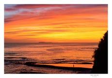 Línea de la playa de la puesta del sol/de la salida del sol, mita del punta, México Fotos de archivo libres de regalías