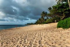 Línea de la playa hermosa de la puesta del sol en la playa arenosa tropical en la isla de Oahu foto de archivo libre de regalías