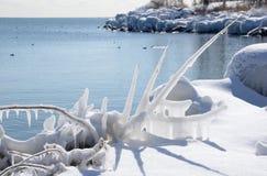 Línea de la playa radiante el lago Ontario de la escultura de hielo Imagen de archivo libre de regalías