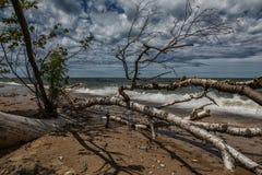 Línea de la playa remota del lago Superior Fotos de archivo