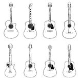 Línea de las guitarras aislada en el fondo blanco Ilustración del vector Fotografía de archivo libre de regalías