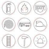 Línea de los iconos del bombero Fotografía de archivo