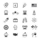 Línea de los iconos del Día de la Independencia Fotos de archivo libres de regalías