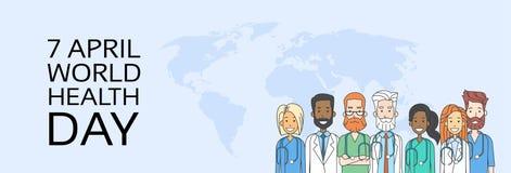 Línea de médico Team Group Health Day Thin ilustración del vector