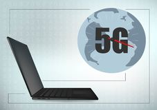 línea de marco global de la cruz de la geometría del ordenador portátil de la tecnología 5G fondo futurista de la plantilla del e ilustración del vector