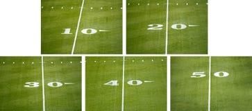 Línea de número americana del campo de fútbol del NFL etiquetas de plástico Imágenes de archivo libres de regalías