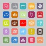 Línea de negocio de la hospitalidad iconos planos ilustración del vector
