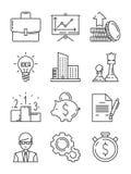 Línea de negocio iconos Finanzas del dinero que comienzan los símbolos de lanzamiento del vector del equipo de la estrategia aisl ilustración del vector