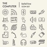 Línea de ordenador sistema del icono, símbolos digitales colección, bosquejos del vector, ejemplos del logotipo, pictogramas line