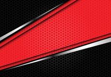 Línea de plata roja bandera del extracto en vector futurista moderno del fondo del hexágono de la malla del diseño negro del mode stock de ilustración