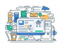 Línea de proceso bandera plana de las compras en línea del diseño con la mesa libre illustration