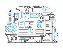 Línea de proceso bandera plana de las compras en línea del diseño con la mesa stock de ilustración