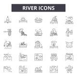Línea de río iconos, muestras, sistema del vector, concepto del ejemplo del esquema libre illustration
