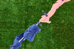 Línea de ropa Fotografía de archivo libre de regalías
