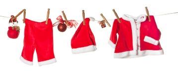 Línea de ropa de la Navidad Fotografía de archivo