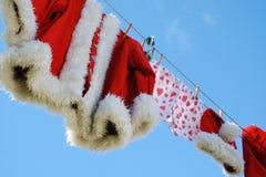 Línea de ropa de Santa Foto de archivo libre de regalías