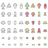 Línea de ropa del bebé iconos fijados Fotos de archivo