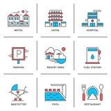Línea de servicios de hotel iconos fijados ilustración del vector
