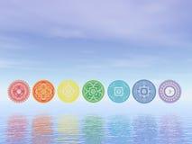 Línea de siete símbolos del chakra - 3D rinden stock de ilustración