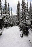 Línea de snowmobile Fotografía de archivo libre de regalías