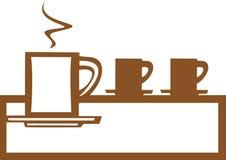 Línea de tazas de café Fotos de archivo libres de regalías