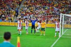 Línea de Team Defensive del fútbol de China Fotografía de archivo libre de regalías