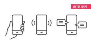 Línea de teléfono móvil IconSmartphone con el vector blanco eps10 de la pantalla libre illustration