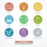 Línea de tiempo de desarrollo del sitio web proceso Vector Imagen de archivo libre de regalías