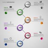 Línea de tiempo extracto gráfico de la información con la plantilla redonda colorida de los indicadores stock de ilustración