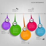 Línea de tiempo gráfico de la información con la plantilla circular coloreada de los indicadores Imagen de archivo