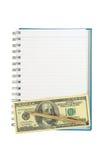 Línea de tira vacía cuaderno con la pluma torcida del oro sobre nota de 100 dólares Imágenes de archivo libres de regalías