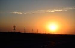 Línea de transmisión de alta tensión Foto de archivo libre de regalías