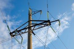 Línea de transmisión de alto voltaje torre Fotografía de archivo libre de regalías