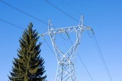 Línea de transmisión de potencia Foto de archivo