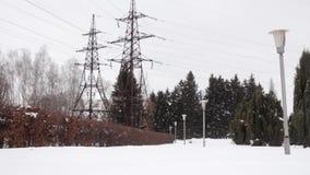 LÍNEA de TRANSMISIÓN dos línea de transmisión de poder en un parque con las linternas almacen de metraje de vídeo